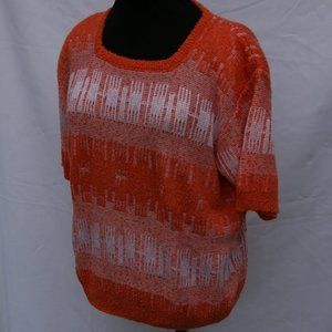 Vintage Crew Neck Sweater Short Sleeve Coral White